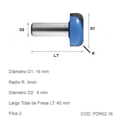 Fresa DTMAQ Desbaste Radial 16mm
