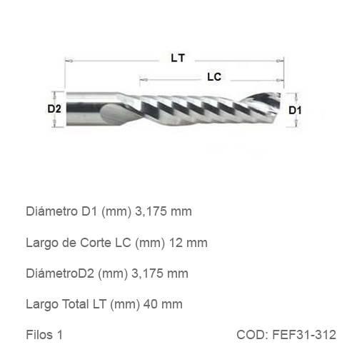 Fresa DTMAQ Espiralada Facetada de un filo 3.175mm