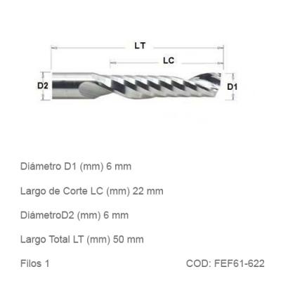 Fresa DTMAQ Espiralada Facetada de un filo 6mm