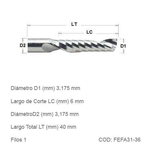 Fresa DTMAQ Espiralada Facetada de un filo para Aluminio 3.175mm