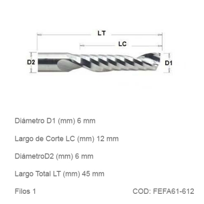 Fresa DTMAQ Espiralada Facetada de un filo para Aluminio 6mm