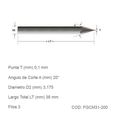 Fresa DTMAQ de Grabado Cónica para Metales 20°