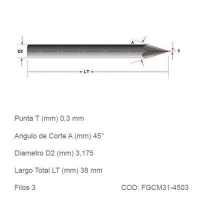 Fresa DTMAQ de Grabado Cónica para Metales 45°