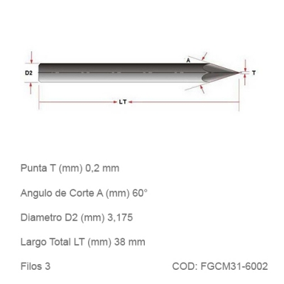 Fresa DTMAQ de Grabado Cónica para Metales 60°