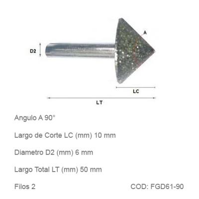 Fresa DTMAQ Grabado Diamantada para Mármol y Granito 90°