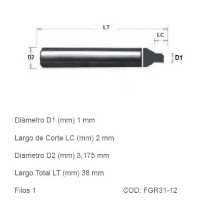 Fresa DTMAQ de Grabado Recta 1mm