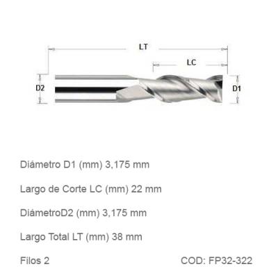 Fresa DTMAQ Plana de dos filos 3,175mm