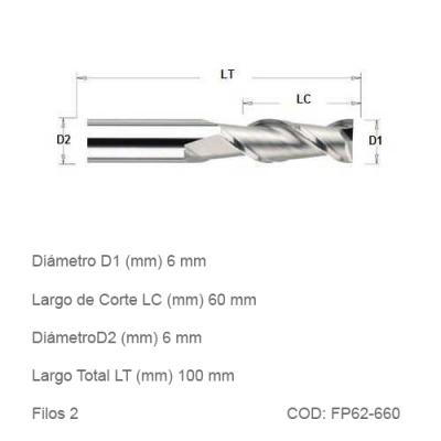 Fresa DTMAQ Plana de dos filos 6mm
