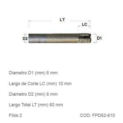 Fresa DTMAQ Plana Diamantada para Mármol y Granito 6mm