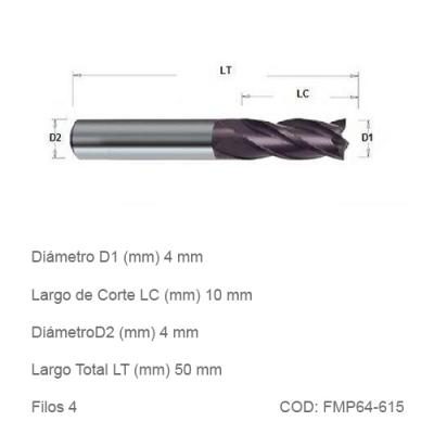 Fresa DTMAQ Plana de cuatro filos para Metales 6mm