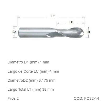 Fresa DTMAQ de Punta Esférica con dos filos de 1mm Diametro de Corte