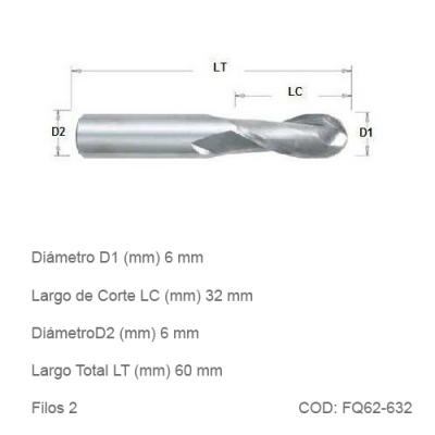Fresa DTMAQ de Punta Esférica con dos filos de 6mm Diametro de Corte
