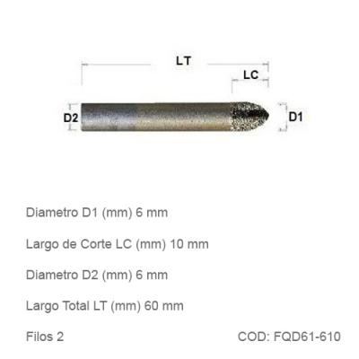 Fresa DTMAQ Esférica Diamantada para Mármol y Granito 6mm