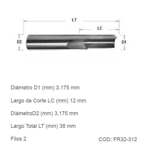 Fresa DTMAQ de Corte Recto de dos filos 3.175mm