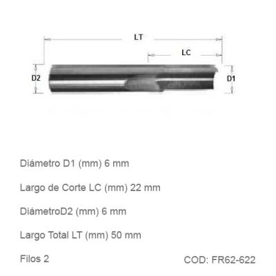 Fresa DTMAQ de Corte Recto de dos filos 6mm