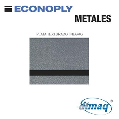Econoply Metales, Plata Texturado/Negro, x Plancha