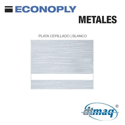 Econoply Metales, Plata Cepillado/Blanco, x Plancha