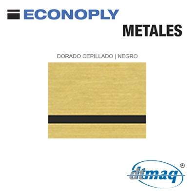 Econoply Metales, Dorado Cepillado/Negro Finito, x Plancha