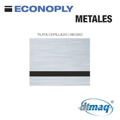 Econoply Metales, Plata Cepillado/Negro Finito, x Plancha