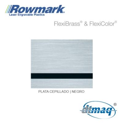 Rowmark FlexiBrass Plata Cepillado/Negro, Tercio