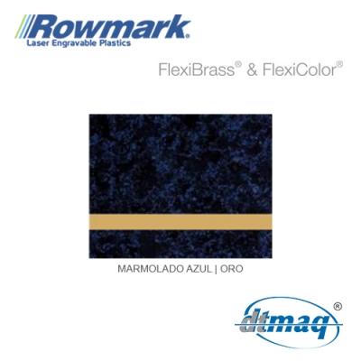 Rowmark FlexiBrass Marmolado Azul/Oro, Tercio