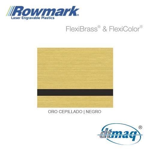 Rowmark FlexiBrass Oro Cepillado/Negro, plancha