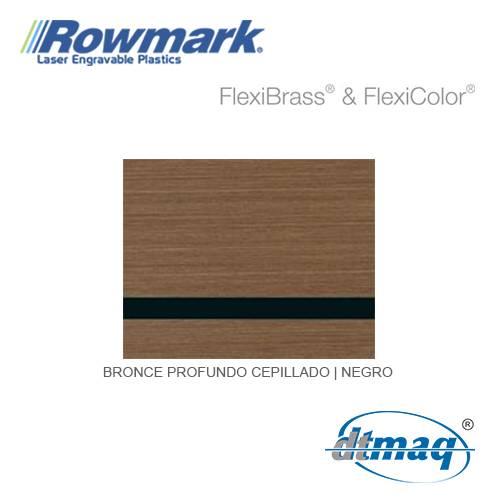 Rowmark FlexiBrass Bronce Profundo Cepillado/Negro, Tercio