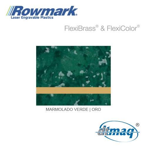 Rowmark FlexiBrass Marmolado Verde/Oro, Tercio