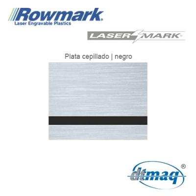 Rowmark LaserMark Plata Cepillado/Negro, Tercio