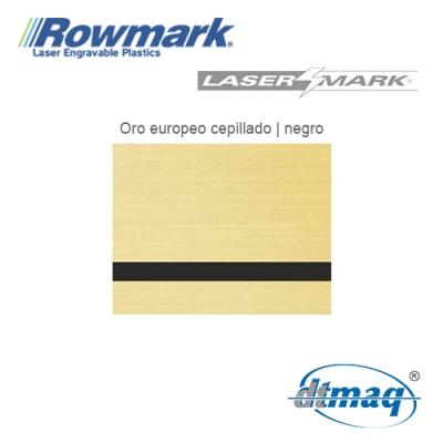 Rowmark LaserMark Oro Euro Cepillado/Negro, Tercio