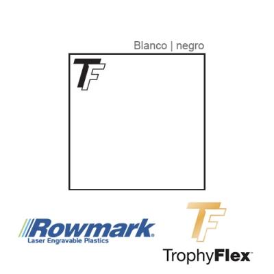 Rowmark TrophyFlex Blanco/Negro autoadhesivo, plancha