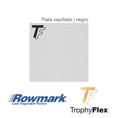 Rowmark TrophyFlex Plata Cepillado/Negro autoadhesivo, plancha