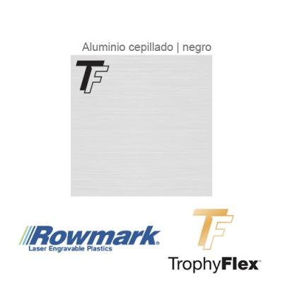 Rowmark TrophyFlex Aluminio Cepillado/Negro autoadhesivo, plancha