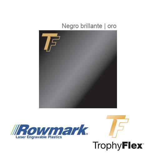 Rowmark TrophyFlex Negro Brillante/Oro autoadhesivo, plancha
