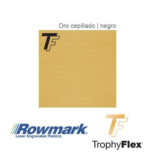 Rowmark TrophyFlex Oro Cepillado/Negro autoadhesivo, x Paquete