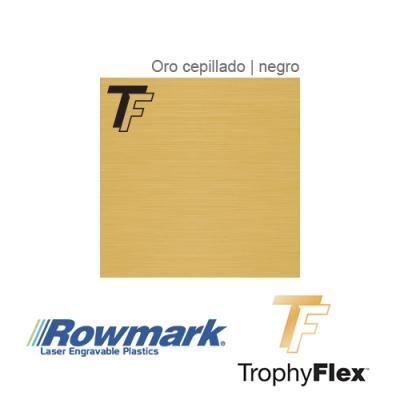 Rowmark TrophyFlex Oro Cepillado/Negro autoadhesivo, plancha