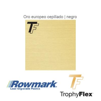 Rowmark TrophyFlex Oro Euro Cepillado/Negro autoadhesivo, x Paquete