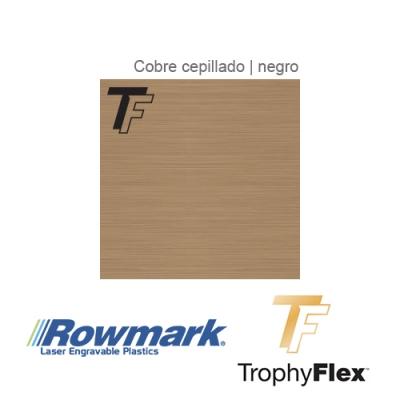 Rowmark TrophyFlex Cobre Cepillado/Negro autoadhesivo, plancha