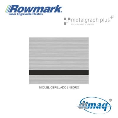 Rowmark MetalGraph Plus Niquel Cepillado/Negro, Tercio