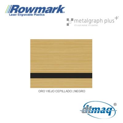 Rowmark MetalGraph Plus Oro Viejo Cepillado/Negro, plancha