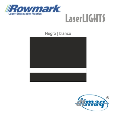 Rowmark LaserLIGHTS Negro/Blanco autoadhesivo, plancha