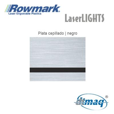 Rowmark LaserLIGHTS Plata Cepillado/Negro autoadhesivo, plancha