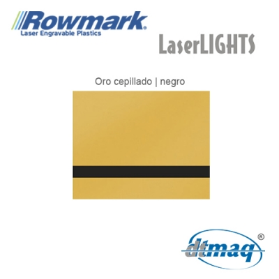 Rowmark LaserLIGHTS Oro Cepillado/Negro autoadhesivo, plancha
