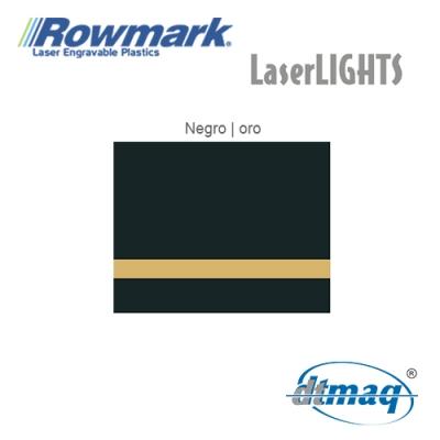 Rowmark LaserLIGHTS Negro/Oro autoadhesivo, plancha